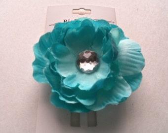 Aqua Hair Flower clip,  accessories, 2 inch hair flower clip, girls hair flower, children, pretty petite hair flower, toddler,girls, Easter