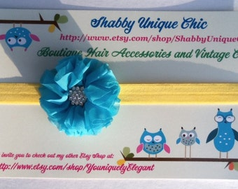 Headbands , Aqua Blue Flower, Yellow Headband, Holidays, Shabby Chic, Photo Prop, Girls , Accessories, Hair, Removeable flower, Kids, Easter