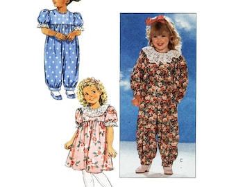 Butterick Sewing Pattern 5663 Toddlers' Dress, Jumpsuit  Size:  1-2-3  Used