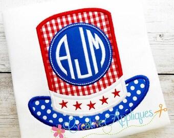 Patriotic Uncle Sam Hat Monogram Digital Machine Embroidery Applique Design 4 sizes