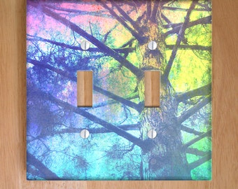 Rainbow Tree Vinyl Double Light Switch Cover, Outlet Cover, Wallplate, Home Decor, Rainbow, Nature, Pastel, Redwood, Photography, California