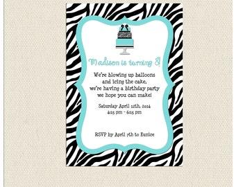 Zebra Party Invite & Thank You Tag