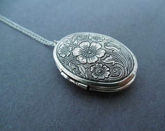 Vintage, Style, Flower, Locket, Silver, Necklace