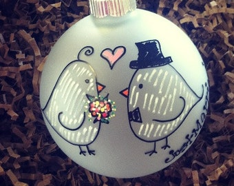 Just Married Love Birds Personalized Christmas Ornament