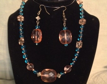 Blue and Pink crystal necklace and earings