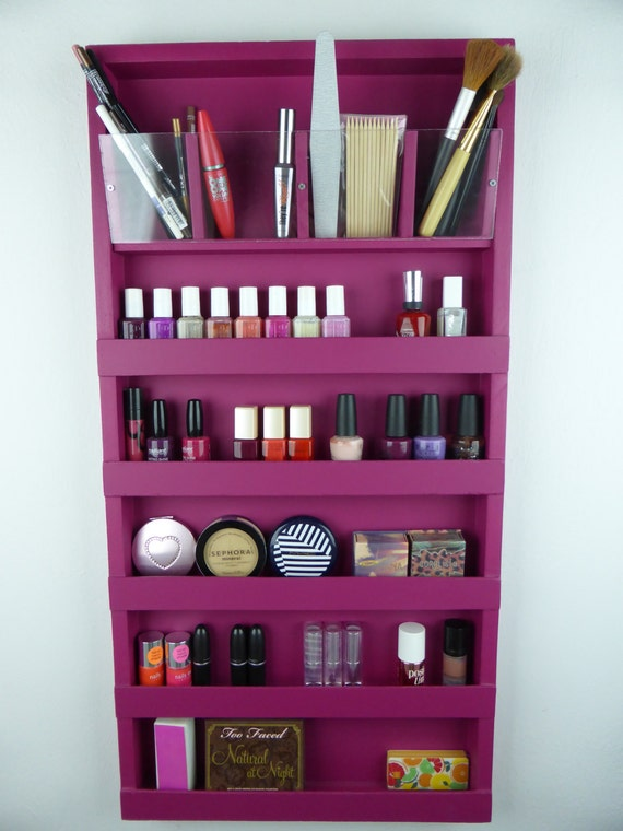 Fuchsia pink makeup organizer - bathroom storage - pencil lipstick ...