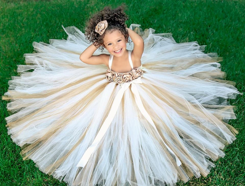 Ivory gold champagne flower girl dress by princesslondonstutus for Little flower girl wedding dresses