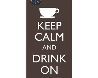 Apple iPhone Custom Case White Plastic Snap on - Keep Calm and Drink On Coffee 0014