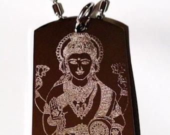 Hindu Lord Deity Goddess of Wealth Lakshmi Religion Religious Logo Symbols - Military Dog Tag Chain Metal Necklace LAKSHMI