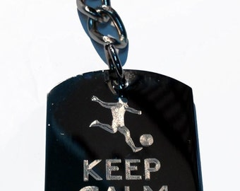Keep Calm & Play Soccer Player Kicking Ball - Metal Ring Key Chain PLAY SOCCER