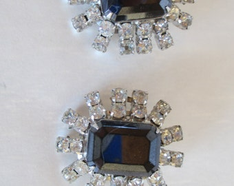 Rhinestone Earrings - Large Centers, Vintage Jewelry, Pristine Vintage Clip-ons with all stones in place