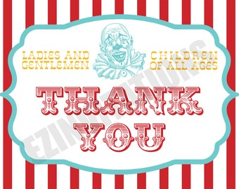 Circus or Carnival Thank You Cards - PRINTABLE