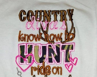Country Diva's Know How To Hunt, Ride on Dirt Roads, & Bait a Hook One Piece Bodysuit OR Shirt