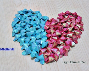 "100pcs of Medium Size 3D Origami Hearts ""LOVE"" In 2 Colors. (RS paper series). #FOH-149."