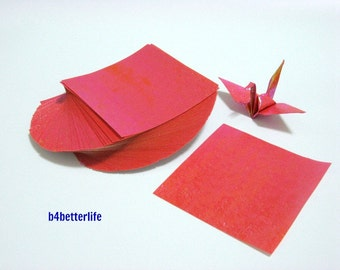 "100 Sheets 3"" x 3"" Dark Orange Color DIY Chiyogami Yuzen Paper Folding Kit for Origami Cranes ""Tsuru"". (TX paper series)."