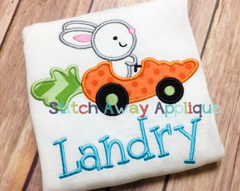 Easter Bunny Carrot Car Machine Embroidery Applique Design
