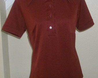 Vintage Burgundy Pullover, Collared Ladies, Polyester Shirt, 1970's