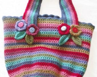 Handcrafted Crochet Multicoloured Stripe Bag