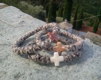 Orthodox wool russian greek chotki, komboskini, prayer rope, rosary, bracelet, camel color, ceramic cross, blessed