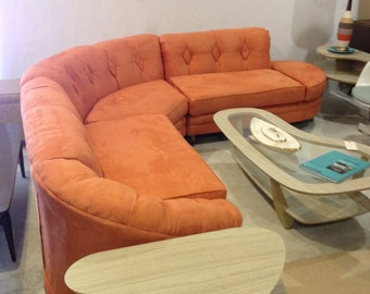 10% OFF SALE Midcentury Modern Orange sectional sofa curved MAD Men Persimmon