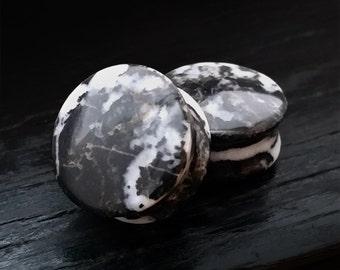 Zebra Stone Plugs Pair gauges natural organic stone 8ga 6ga 4ga 2ga 0ga 00ga 3mm 4mm 5mm 6mm 8mm 10mm 12mm 14mm 16mm 19mm 22mm 25mm