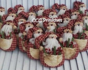 Primitive Pattern - Santa Pocket Ornie E-Pattern - Santa Pattern - Santa Clause Pattern - Handmade Santa Pattern - Santa Ornament Pattern