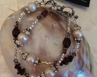 Garnet and Pearl Double-strand Bracelet (ETYB10)