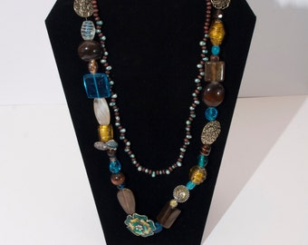 Brown & Teal Toned Jewelry Set - Necklaces and Earrings