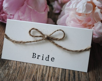 Rustic Wedding Place Name Cards / Favours Country Jute Twine Bow Vintage
