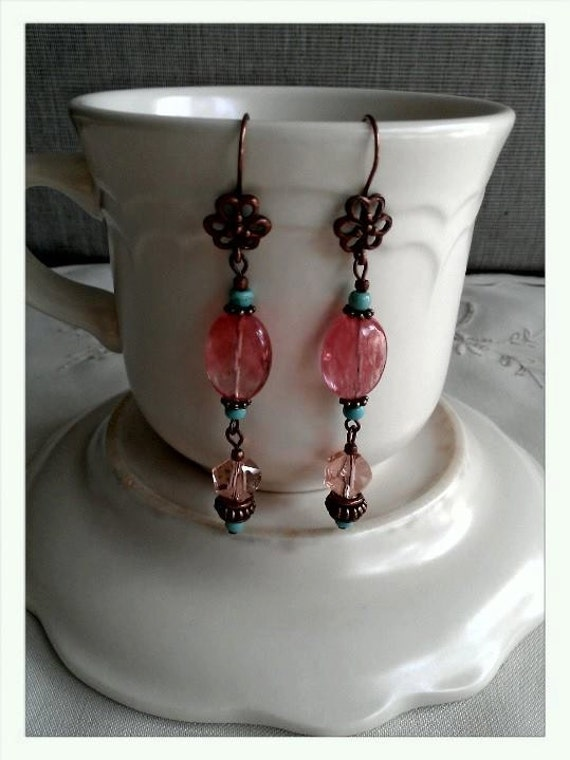 Downton Abbey spring style copper and cherry quarts OOAK earrings. #copper earrings, #cherry quarts earrings, #rose earrings,#OOAK earrings