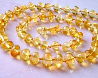 Baltic Amber Women Necklace Baroque Round Beads Lemon Real Baltic Amber