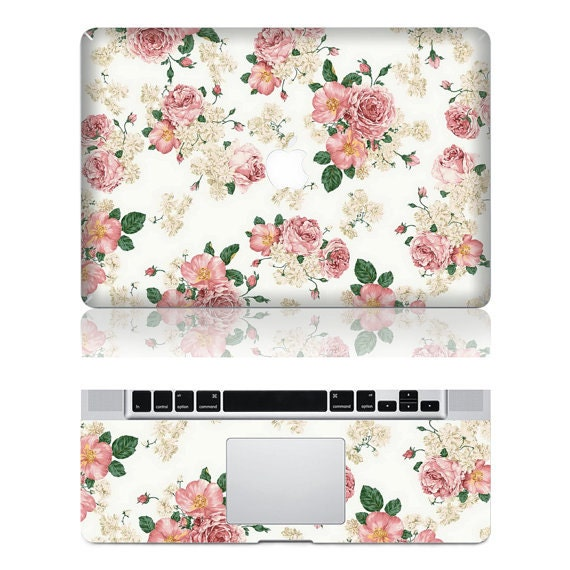 Macbook Protective Decals Stickers Mac Cover Skins Vinyl Case for Apple Laptop Macbook Pro/Macbook Air--flowers