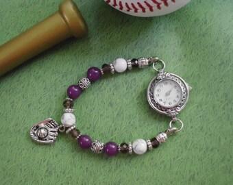 BASEBALL TEAM / School Spirit Purple & White Beaded Interchangeable WATCH Bracelet  (#50011)
