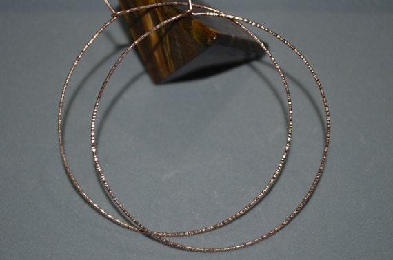Textured Hammered Gold Hoop Earings - Extra Large Hoop Earrings - Thin Hoop Earings - 14k Rose Gold Filled Circle Earrings