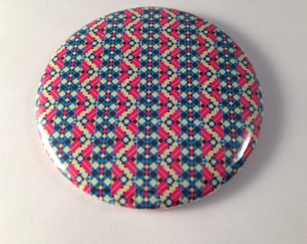 Red and Blue Tribal Pattern Pocket Mirror