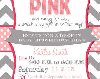 Chevron Tickled Pink Baby Shower Invitation