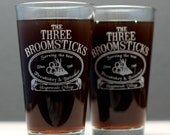 The Three Broomsticks 2 pack! Harry Potter Inspired etched Pint Glass, hogsmeade village, harry potter gift,