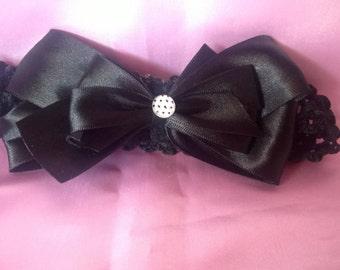 Black Satin Hair Bow Headband