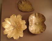 Virginia Metalcrafters Lotus Leaf and May Apple Leaf Brass Dishes and Chinese Evergreen by Cambron