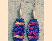 Multi colored unique handmade oval shaped beaded african print dangler earrings
