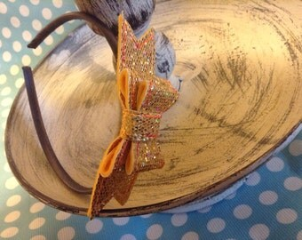Glittery Gold Double Bow Headband (removable bow)