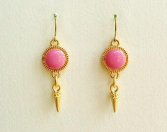 Pale Raspberry Pink Earrings with Gold Stud Charms, Raspberry Pink Earrings, Pink Resin Disc Dangle Earrings,  Hypoallergenic, For Het