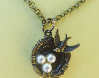 Bird Nest Necklace with Pearl Eggs