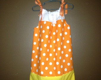 Halloween Candy Corn Pillowcase Dress Ready to Ship
