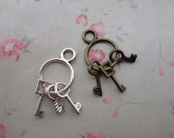2 colors choice--set of 50--metal key charm--25x12mm--metal pendant-metal charm--MPC3343-50