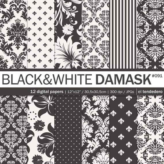 Damask digital paper black and white damask with by ...