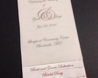 Wedding program | layered | red | vellum