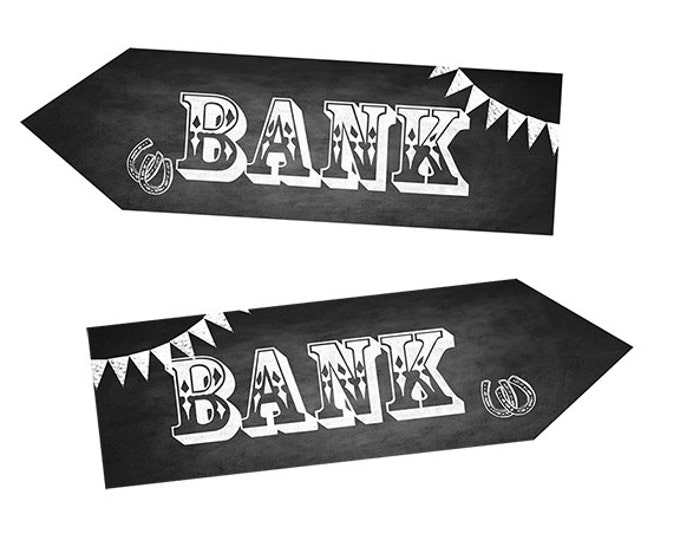 Western Themed Bank DIRECTIONAL signs - Chalkboard Style - PRINTABLE file - diy Western Wedding or event signage