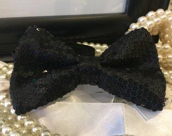 Black Elegant Sequin Adult Size Bow Tie