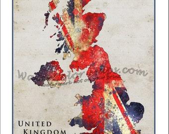 UNITED KINGDOM Map, Map of the UK, England, Britain Map, British Map, Custom Maps, Union Flag